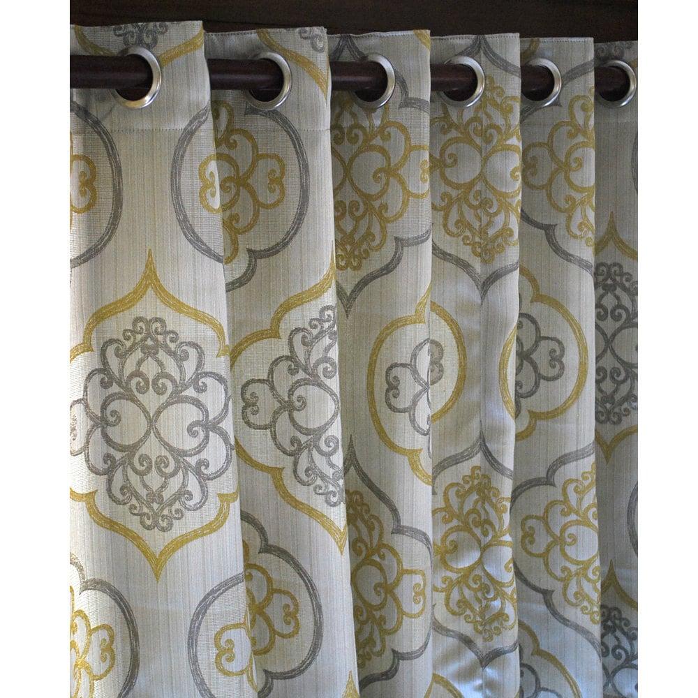 Pair Of Geometric Light Gold Damask Curtain Panels