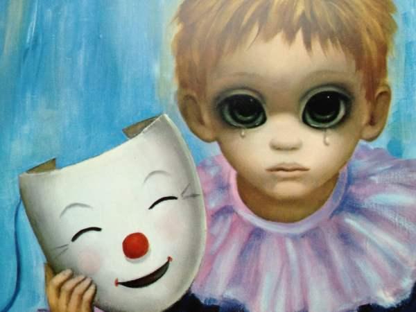 Happy Mask Unhappy Boy Big Eye Margaret Keane 1960s