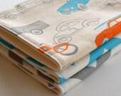 Baby Boy Burp Cloth Gift Set . Eco-Organic . Shower Gift . Surf Mobiles, Aqua and Gray Chevron - CorinneCitrolo