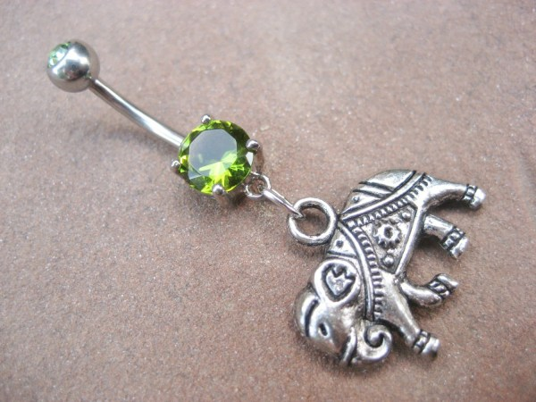 Belly Button Ring Jewelry Elephant Emerald