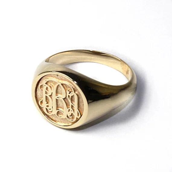 Women's Script Monogram Ring in 14k Gold by SorellaJewelry