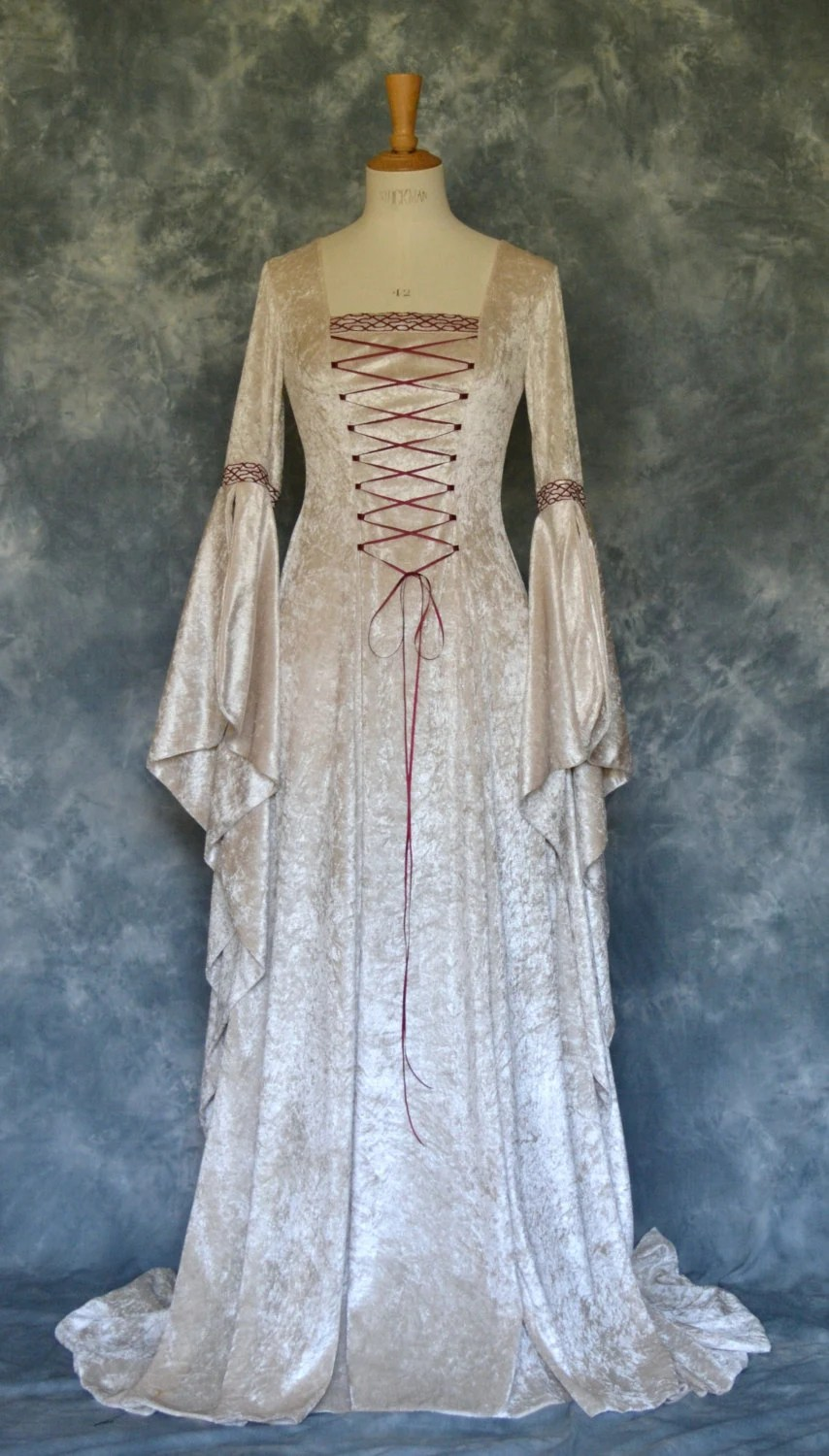 Items similar to Jade a Medieval Style Wedding Dress with Celtic Embroidery Custom Made