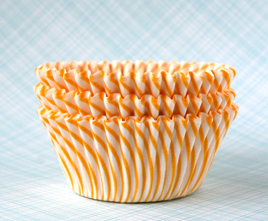 Yellow Stripe Cupcake Liners Carnival Stripe Baking Cups