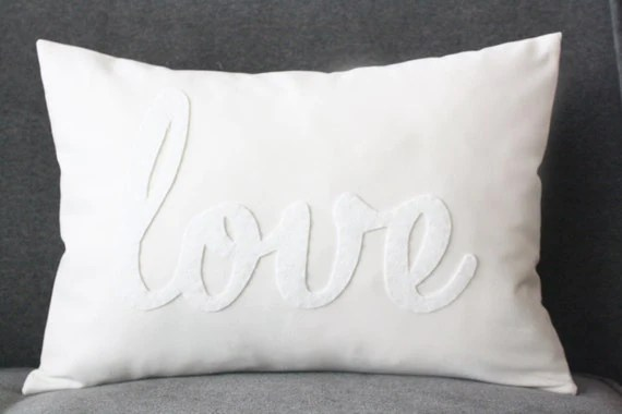 Love Pillow Decorative Pillow White Love Pillow by