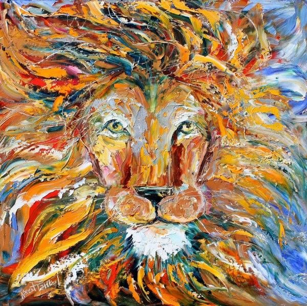 Original Wild Lion Animal Palette Knife Painting Oil Impasto