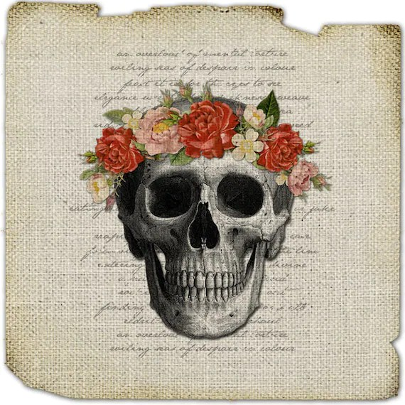 Items similar to Skull image Floral wreath crown Bones