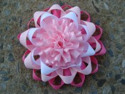 pink and white loopy hair bow ribbon