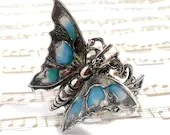 Butterfly ring, Art Nouveau ring, silver filigree, adjustable ring, butterfly jewellery, Victorian ring, plique a jour - DarkenroseJewellery