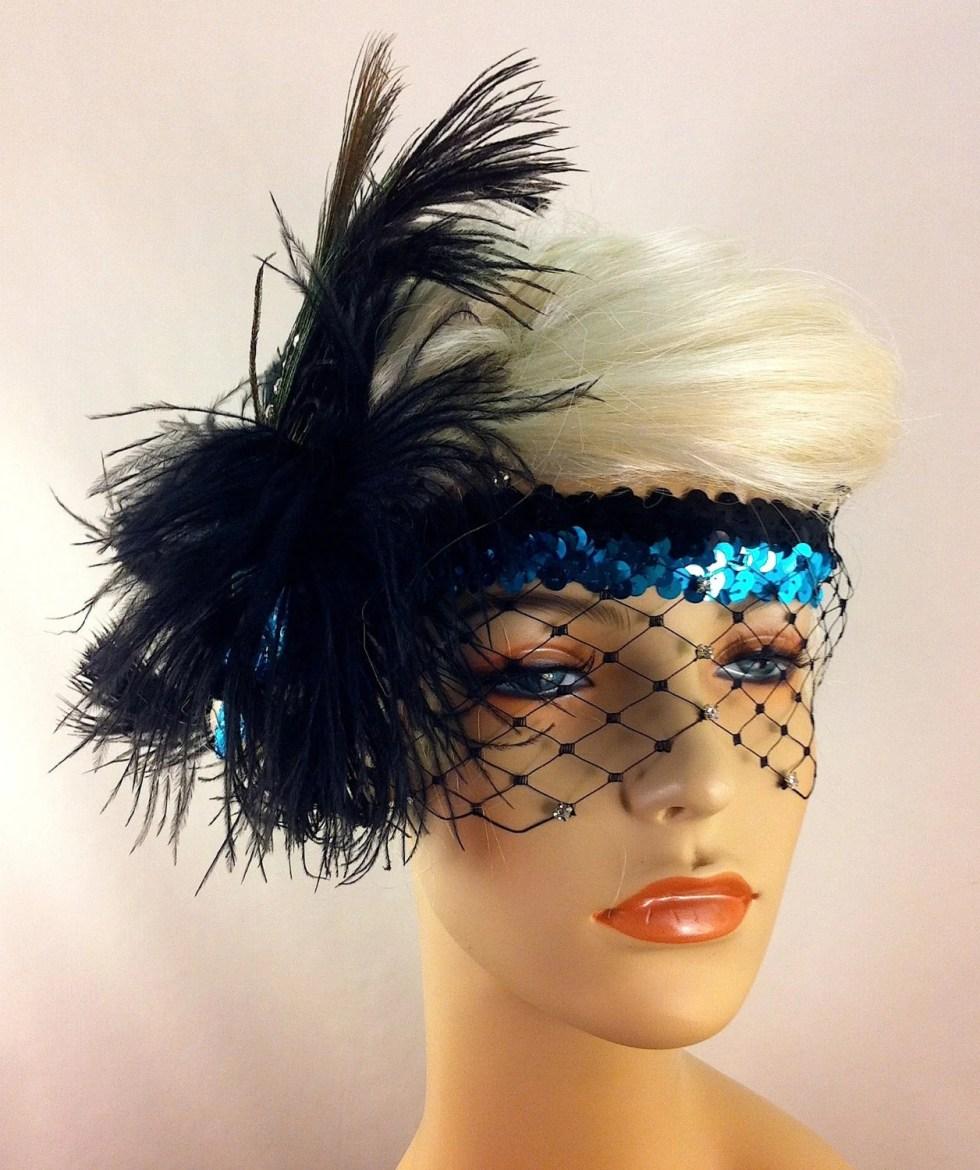 Flapper Headpiece, Great Gatsby Headband, Downton Abbey, 1920s Headband, 1920s Headpiece, Flapper Girl Headband, Rhinestone Mask