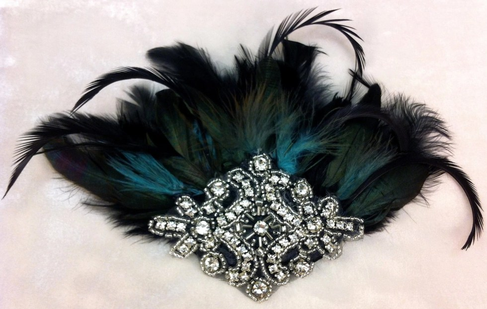 Fascinator, Great Gatsby, Downton Abbey, 1920s Flapper Headpiece, Feather Fascinator, Silver Beaded Art Deco, 1920s Headpiece, Speakeasy
