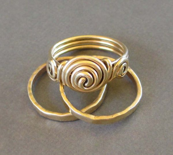 Three Brass Rings Gold Ancient Etruscan Jewelry