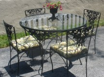 Wrought Iron Table 4 Chairs Cushions. Moonstruckcottage