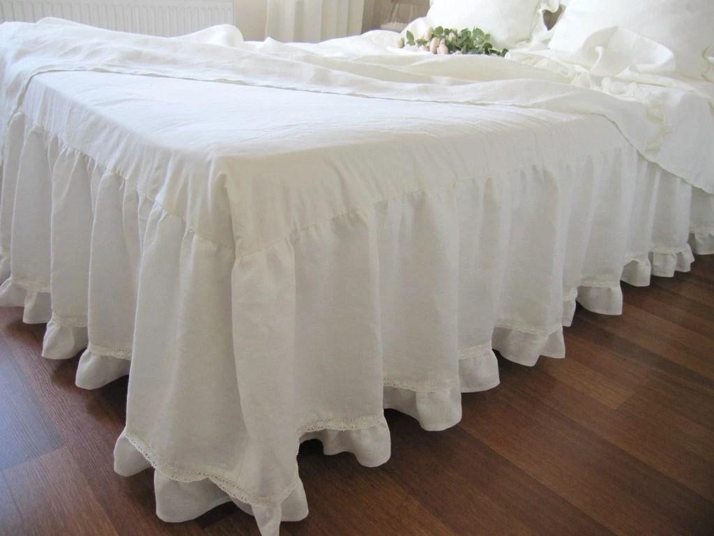 Off White Ivory Linen Dust Ruffle Bedskirt Base By Nurdanceyiz