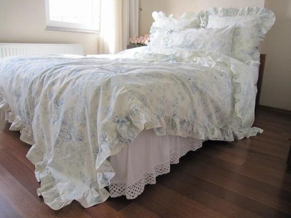 Sale Cream Pastel Blue Floral Ruffled Bedding By Nurdanceyiz