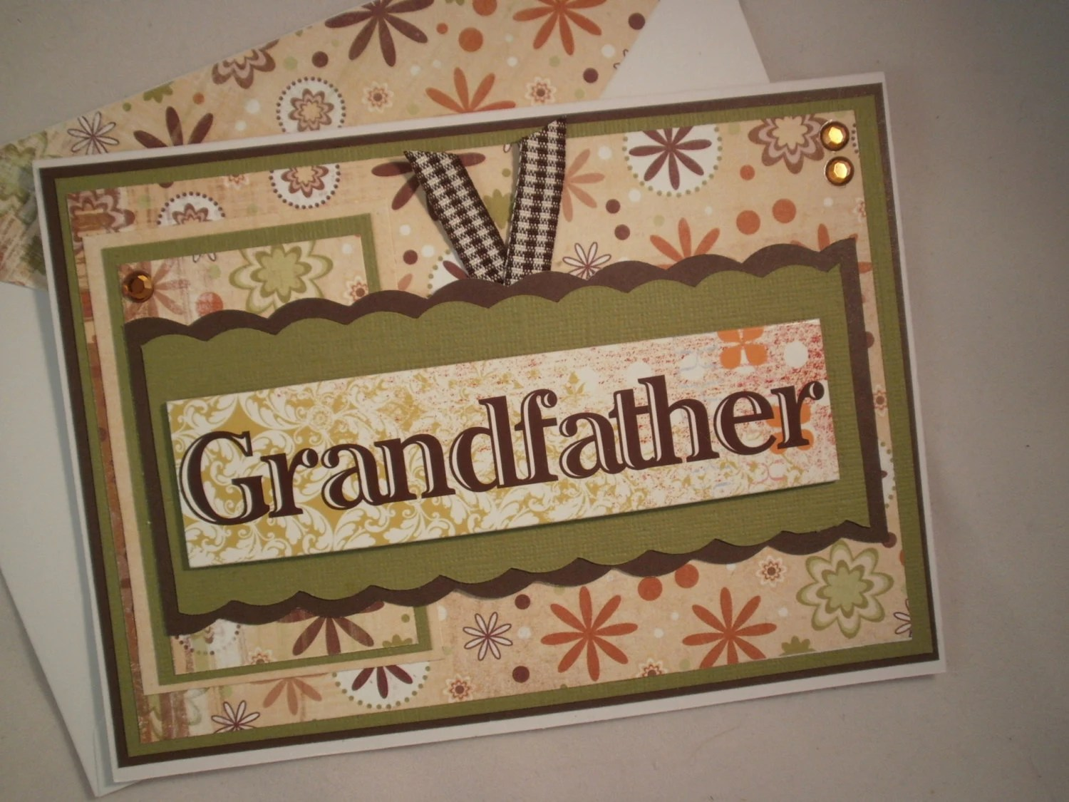 Grandfather - Handmade Father's Day Card with Embellished Envelope