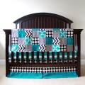 Custom crib bedding black and turquoise madhatter bedding