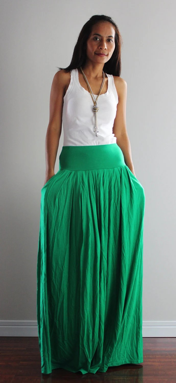Long Green Skirt Fashion Skirts