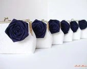 Bridesmaid gift idea - Navy Nautical Wedding - Set of six White Lace Clutch with Silk Rose Flowers - or choose your own initial option - LeelaPurse