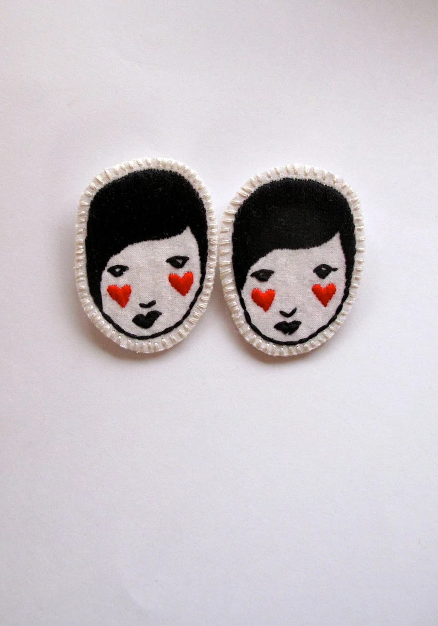 Embroidered jewelry brooch of face with red hearts black and white listing is for ONE brooch Valentine's Day - AnAstridEndeavor