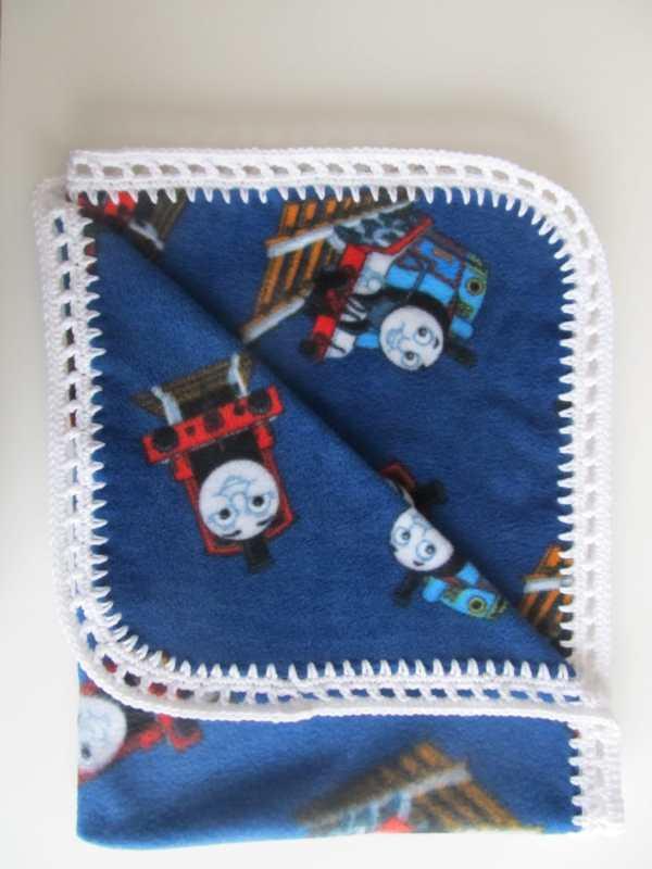 Thomas Train Fleece Blanket With Crocheted Border