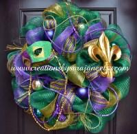 Green Mardi Gras Wreath Deco Mesh Mardi Gras Wreath Mardi