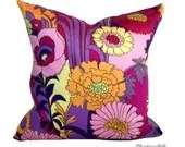 Throw Pillow Retro 1970s Floral Decorative Pillow. Vintage Fabric. Pink Purple Cushion - Retro68