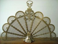 Brass Fireplace Screen ornate peacock fan folding screen with