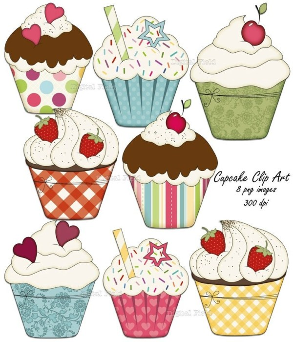 cupcake clip art set colorful printable