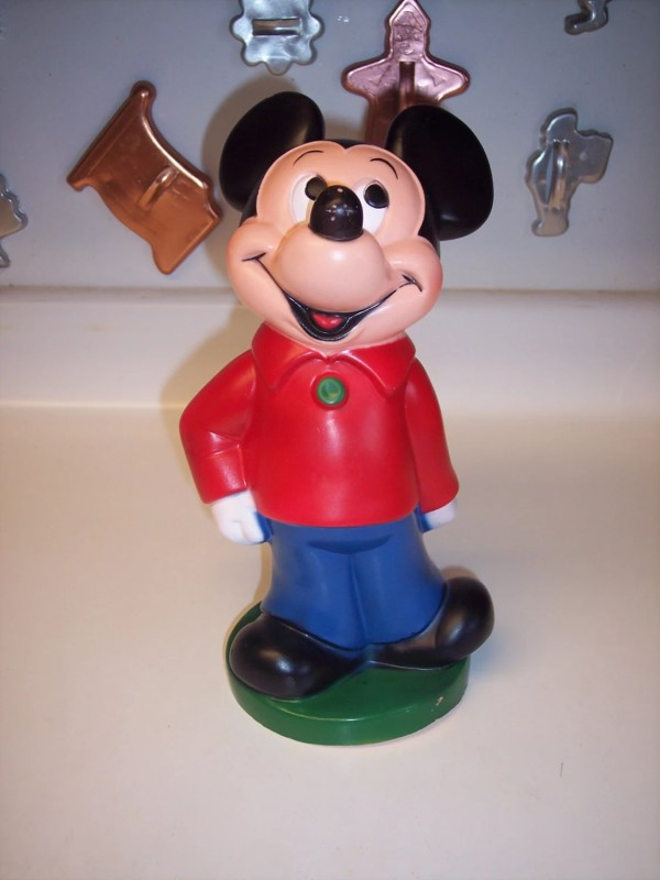 Vintage Mickey Mouse Plastic Bank Piggy