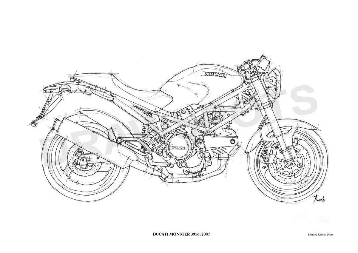 DUCATI MONSTER 695d 2007 Original Handmade Drawing Fine
