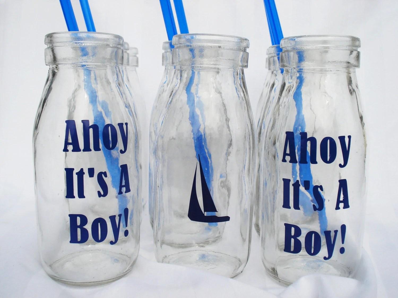 BOY BABY Shower Milk Bottle Drink Ahoy It's a Boy Nautical Party Drinks with BLUE straws (12)  Dozen Custom Milk Bottles - bittersweetlemonade
