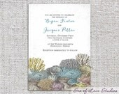 Ocean Coral Beach Invitation - Printable PDF or Deposit for Printing for Wedding/Event - SeaOfLoveStudios