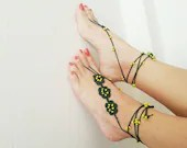 Green with yellow beaded barefoot sandals, Foot jewelry, Bridal Accessories, Sexy,Yoga, Anklet, Bellydance, Steampunk, Beach Pool - ArtofAccessory
