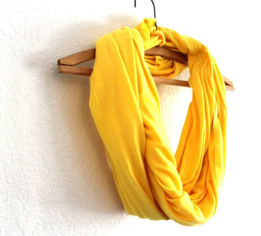 Bright Yellow Infinity Scarf - Free Shipping- Neon Yellow Scarf- Loop Scarf Infinity - Mothers Day gift - BessiesCreations