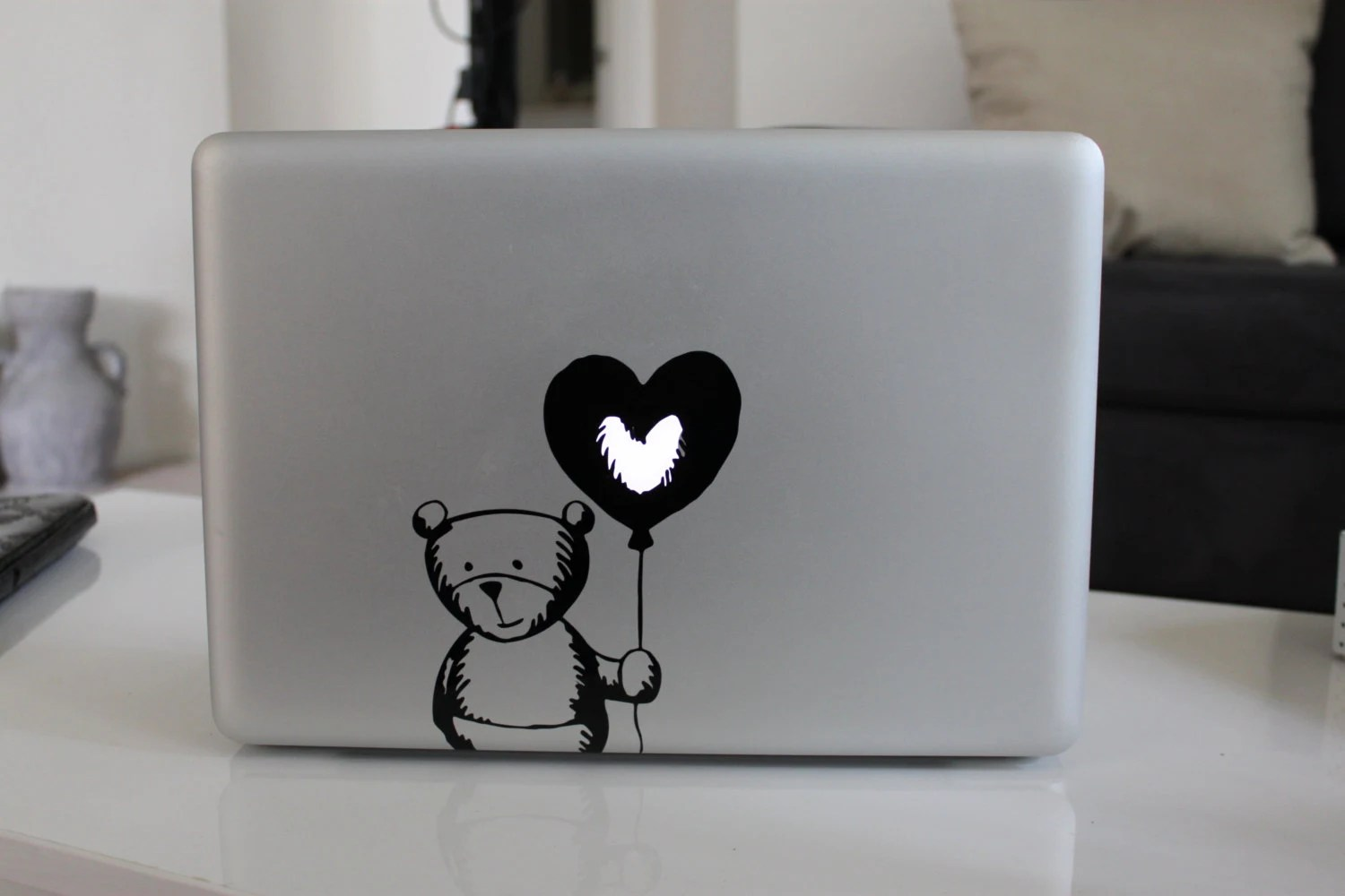 Items similar to Cute Bear Balloon Heart Decal Sticker For Apple MacBook on Etsy
