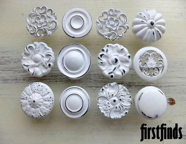 12 Misfit Lg Shabby Chic White Distressed Knobs Kitchen
