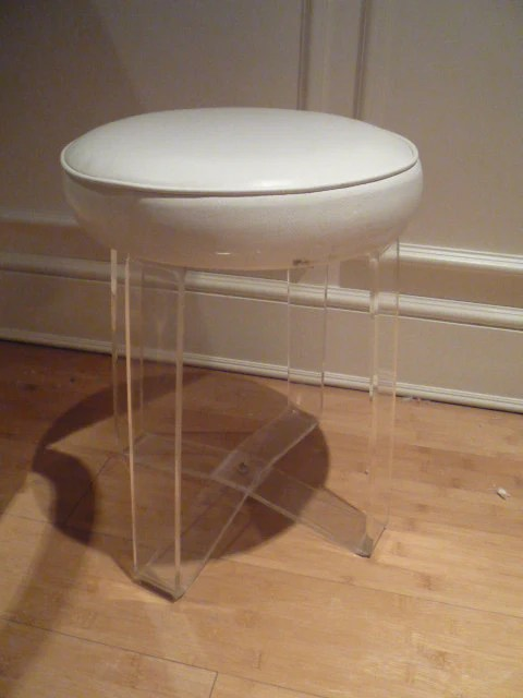 Vintage Lucite Vanity Stool Bench Chair Seat by feelinvintage