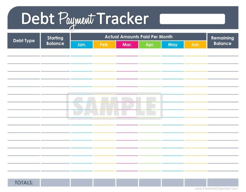 credit card tracker template