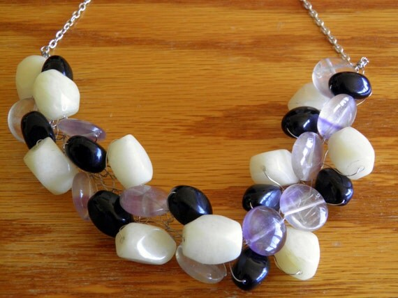 Black Obsidian, Cream Quartzite and Purple Fluorite Woven Necklace