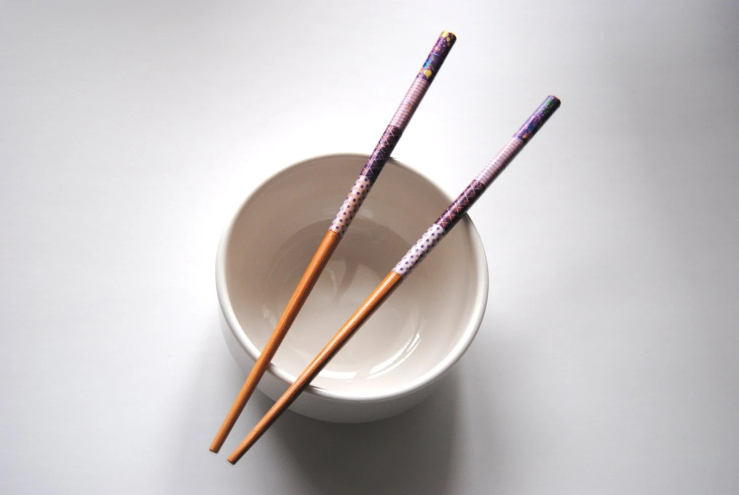 Pair of Washi Tape Wrapped Bamboo Chopsticks - Purples, Natural, Patchwork - storiebrooke