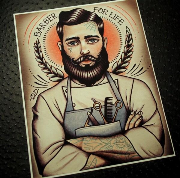 Barber Life Tattoo Art Print