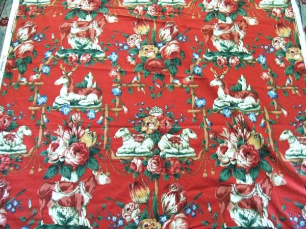 English Red Chintz Fabric Les Animaux 5 Yards