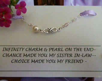 Bracelet Sister In Law Infinity Charm With Pearl