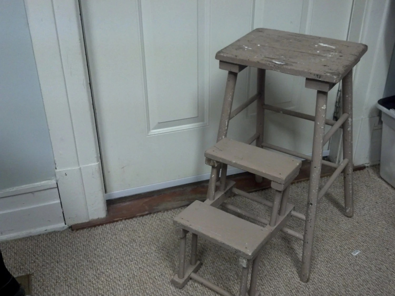 Vintage Wooden Folding Step Stool