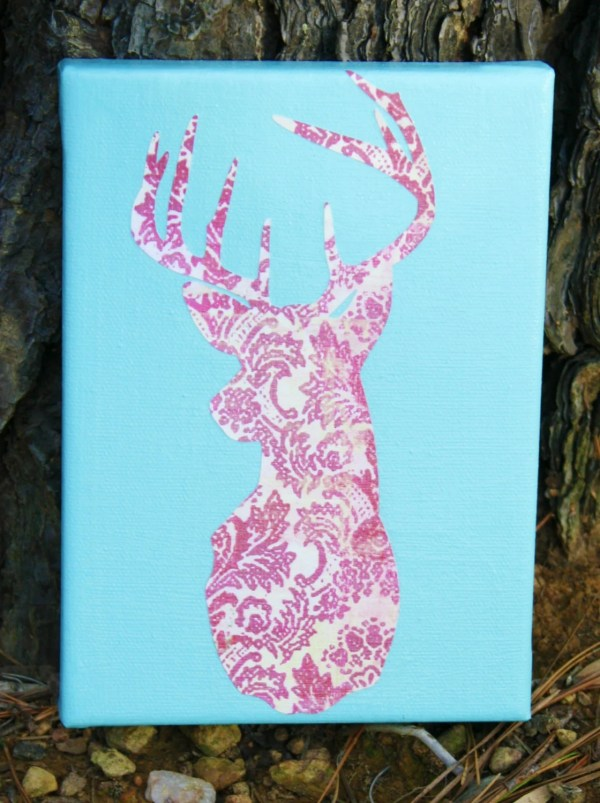 Reserved Pink And Turquoise Deer Silhouette Canvas Art