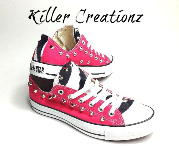 Custom studded pink Converse Chuck Taylors with by