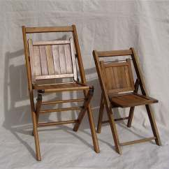 Vintage Wooden Chairs Theater For Home Antique Folding Wood Slat Pair Adult And Child Sized C