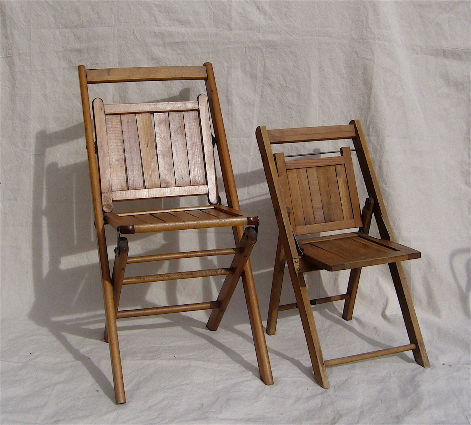 Antique Wooden Chair Antique Folding Chairs Wood Slat Pair Adult And Child Sized C