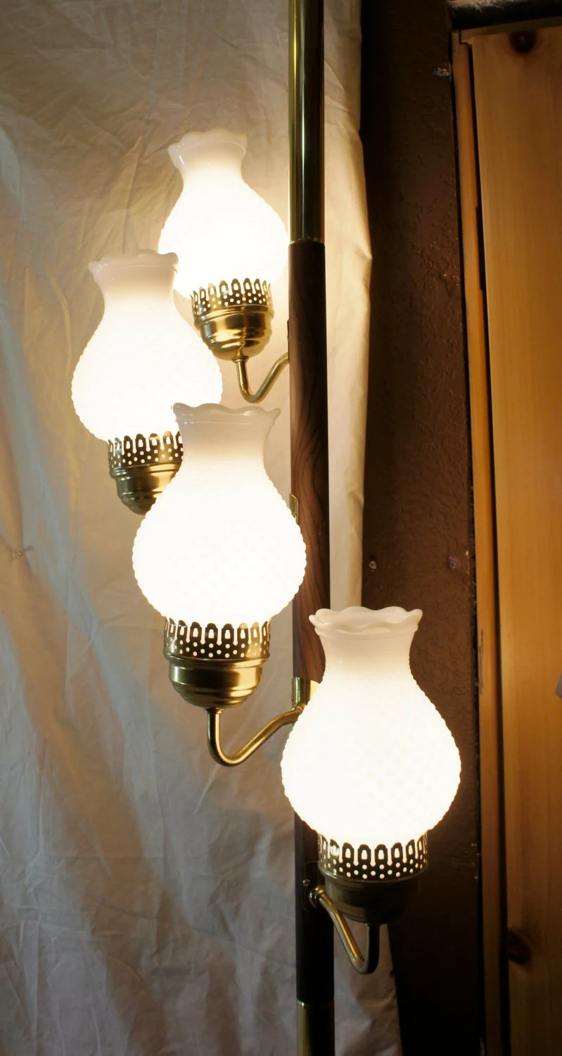 white hobnail milk glass tension pole lamp basement or corner