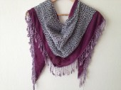 Purple and leopard shawl Combed fabric with lace Triangle fabric shawl, Authentic,Trimming - SpecialFabrics